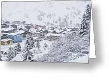 Snowy Resorts Greeting Card