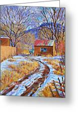 Snowy Road Home Greeting Card