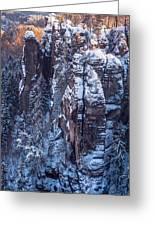 Snowy Rocks. Saxon Switzerland Greeting Card
