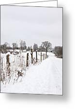 Snowy Rural Landscape Greeting Card