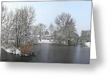 Snowy Scenery Round Canals Greeting Card