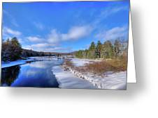 Snowy Shore Of The Moose River Greeting Card