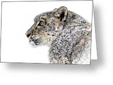 Snowy Snow Leopard Greeting Card