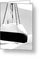 Snowy Tire Swing Black And White Greeting Card