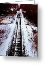 Snowy Train Tracks Greeting Card
