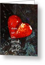 So In Love With You - Romantic Red Heart Painting Greeting Card