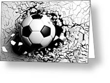 Soccer Ball Breaking Forcibly Through A White Wall. 3d Illustration. Greeting Card