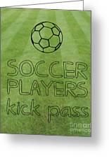 Soccer Players Kick Pass Poster Greeting Card