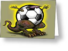Soccer Saurus Rex Greeting Card