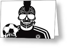 Soccer Skull Icon Background With Sunglasses And Ball. Greeting Card