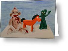 Sock Monkey And Friends Greeting Card