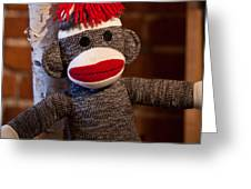 Sock Monkey Greeting Card by Edward Myers