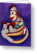 Sock Monkey With Kazoo Greeting Card