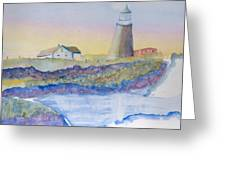 Soft Blue And A Light House Greeting Card