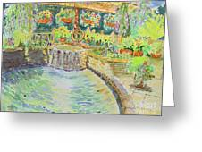 Soft Waterfall In The Pool Of Gibbs Gardens Greeting Card