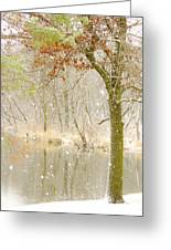 Softly Falls The Snow Greeting Card by Lori Frisch