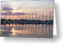 Softly - God Rays And Yachts In Rose Gold And Amethyst  Greeting Card