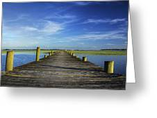 Sol Legare Wooden Dock Vanishing Point Greeting Card