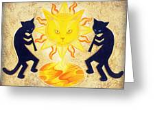 Solar Feline Entity Greeting Card