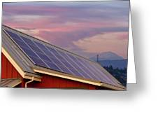 Solar Panels On Roof Of House Greeting Card