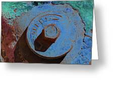 Solarized Rusty Fire Hydrant Greeting Card
