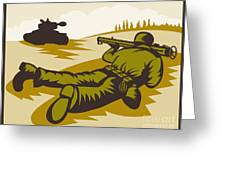 Soldier Aiming Bazooka Greeting Card