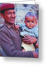 Soldier And Baby Greeting Card