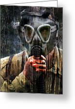 Soldier In World War 2 Gas Mask Greeting Card