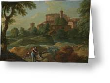Soldiers And Dogs Near A River Greeting Card