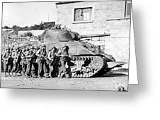Soldiers And Their Tank Advance Greeting Card