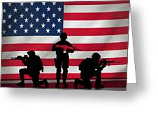 Soldiers On American Flag Greeting Card