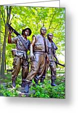 Soldiers Statue At The Vietnam Wall Greeting Card