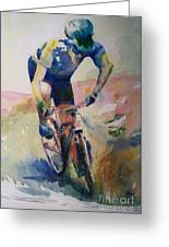 Solitary Biker Greeting Card