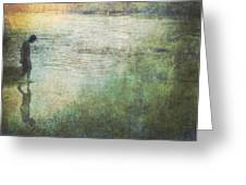Solitary--walking In Water Greeting Card