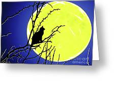 Solitary With Golden Moon Greeting Card