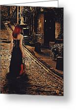 Soloist - Solitary Woman With Violin Greeting Card