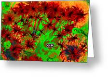 Someone Peers Between The Flowers In The Jungle Greeting Card