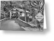 Somerset One Lane Bridge Black And White Greeting Card