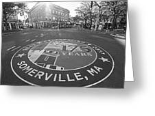 Somerville Ma Davis Square 175 Years Black And White Greeting Card