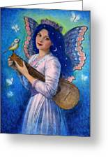 Songbird For A Blue Muse Greeting Card by Sue Halstenberg