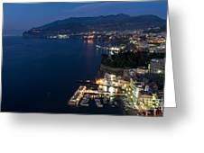 Sorrento Bay At Night Greeting Card