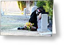 Sorrow - Dia De Los Muertos Greeting Card by Val Armstrong