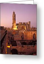 Sound And Light Show At Jerusalem City Greeting Card