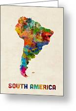 South America Watercolor Map Greeting Card