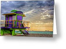 South Beach Dawn Greeting Card by William Wetmore