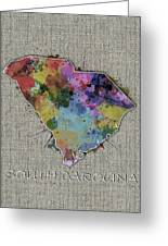 South Carolina Map Color Splatter 5 Greeting Card