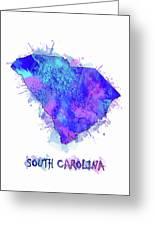 South Carolina Map Watercolor 2 Greeting Card