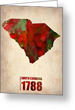South Carolina Watercolor Map Greeting Card