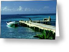 South Caye Belize Boat Dock Greeting Card