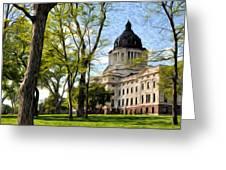 South Dakota Capitol Oil Painting Greeting Card